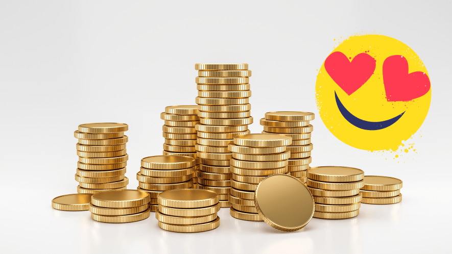 Heap of gold coins and heart-eyes emoji on white background