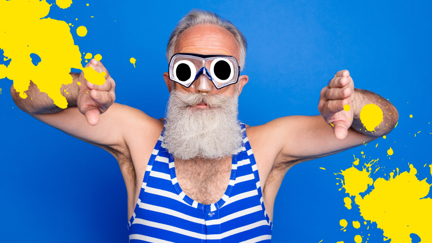 Man in old fashioned swimming costume on blue background with yellow splats