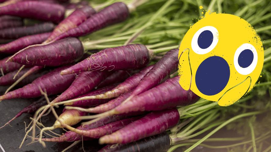Purple carrots and shocked emoji