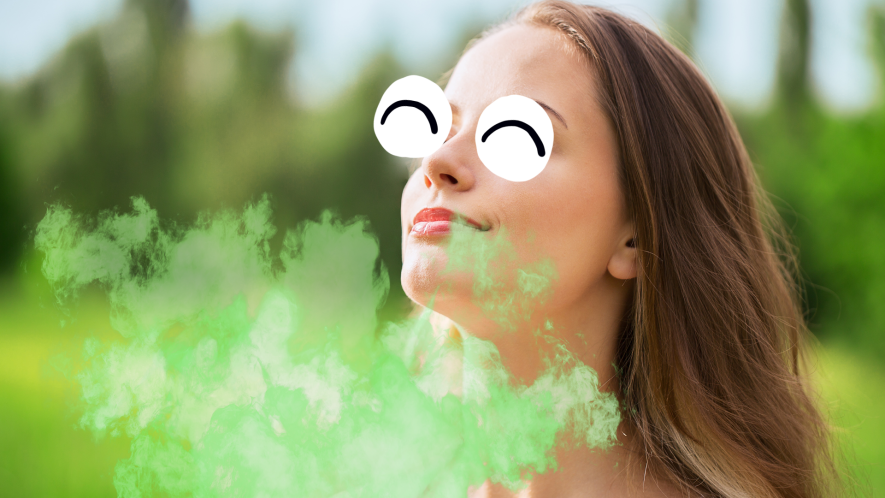 Woman breathing and fart cloud