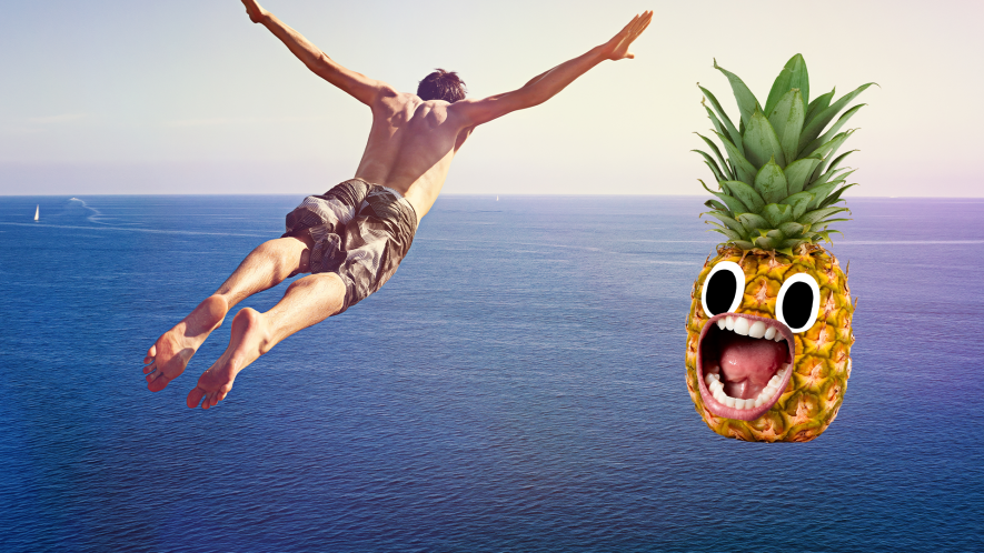 Man diving into sea with derpy pineapple