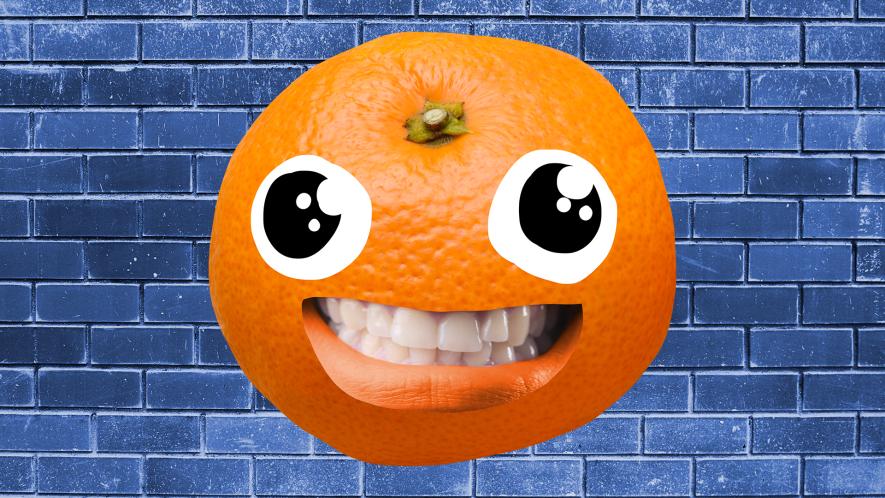Goofy orange on blue background