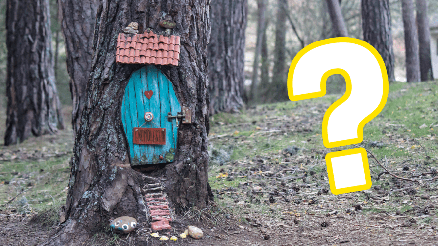 Fairy house with question mark