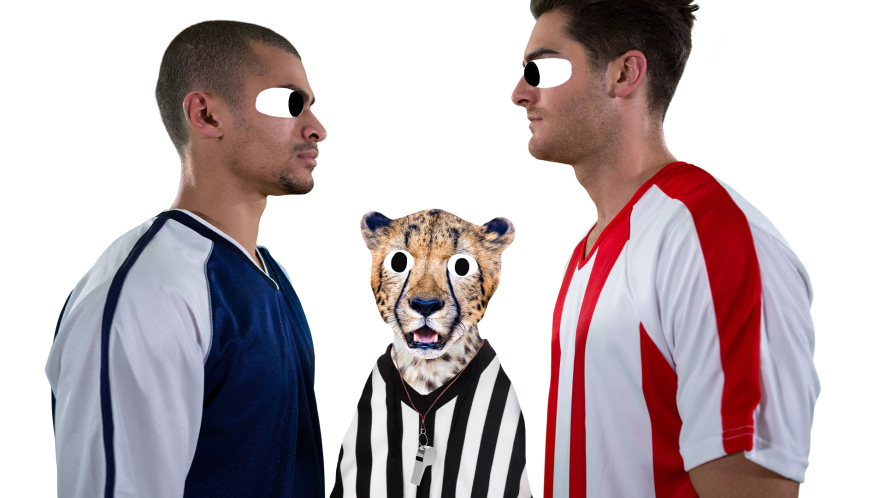 Two rival footballers on a white background with referee cheetah
