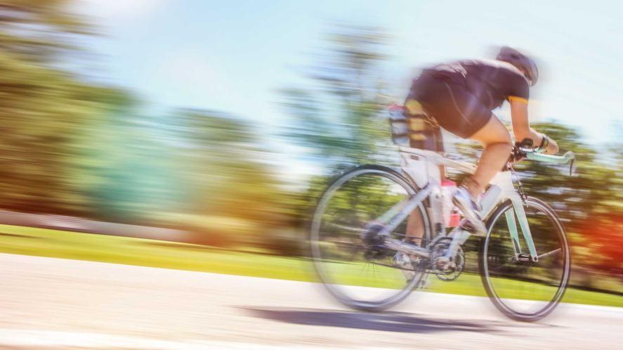 Blurred cyclist