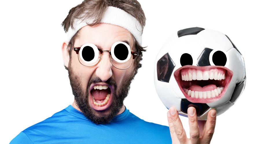 Goofy man holding football with face on white background