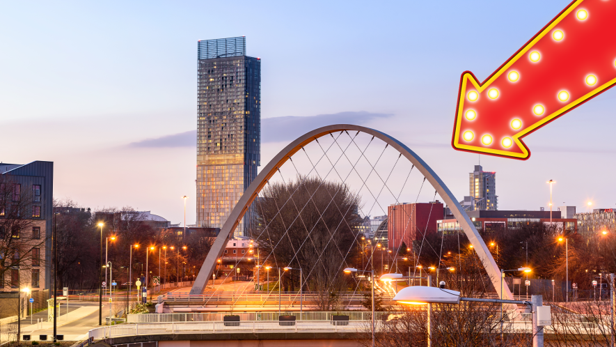 Picture of Manchester with arrow
