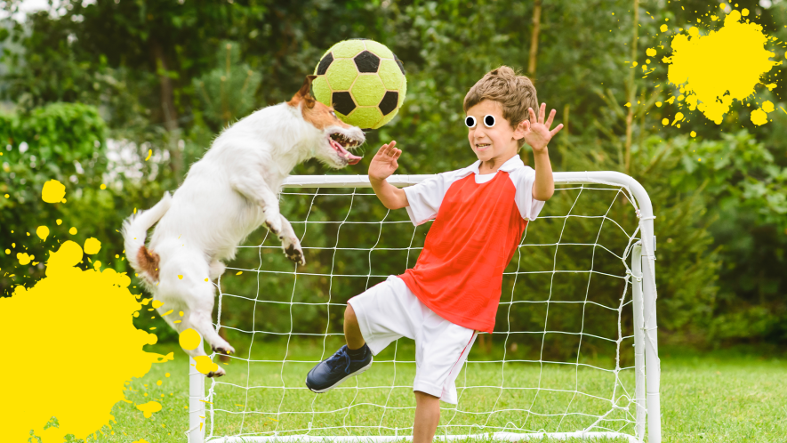 Boy and dog playing with football and yellow splat