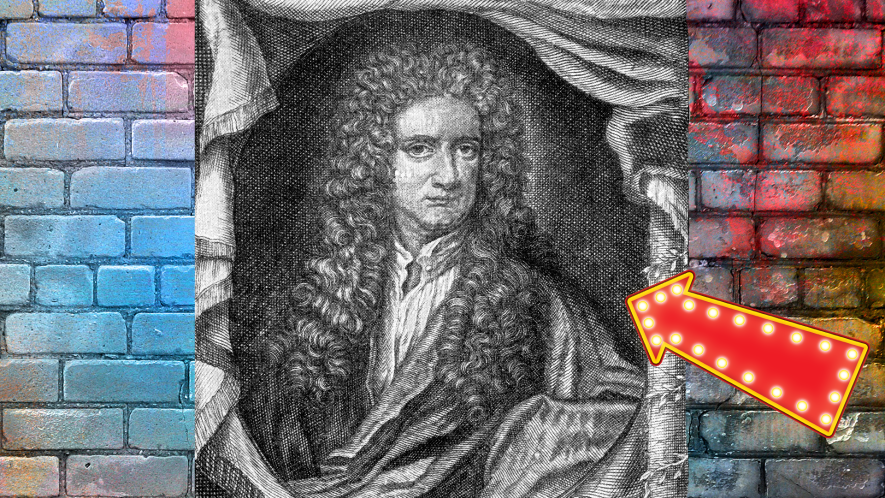 Engraving of Issac Newton on brick background with arrow