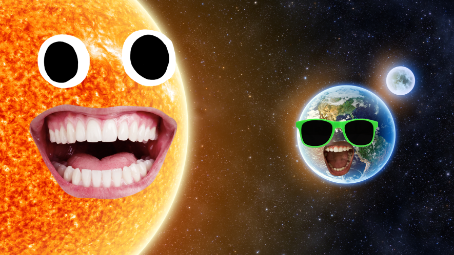 Sun and Earth with goofy faces