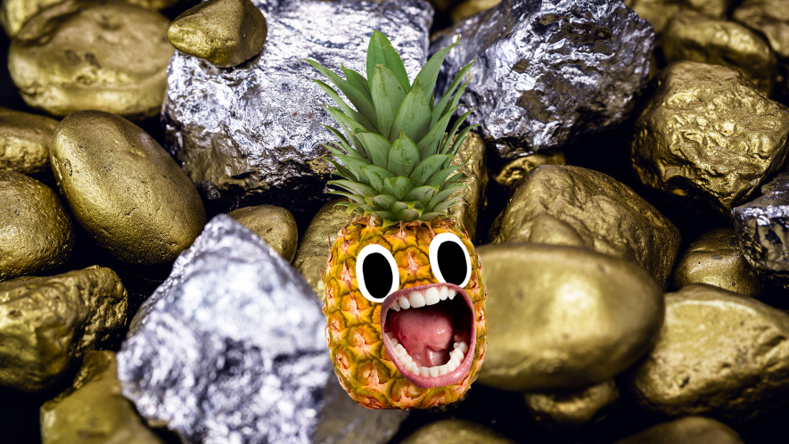 Gold and silver nuggets with screaming pineapple