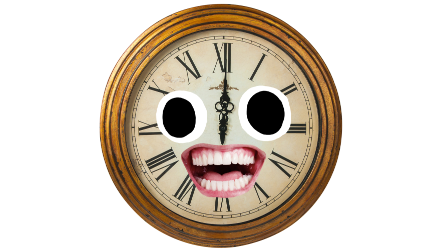 Old clock with goofy face on white background