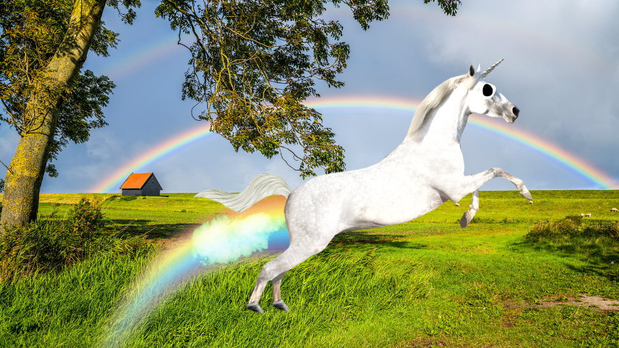 Landscape with rainbow and rainbow farting unicorn