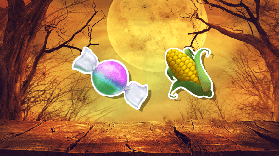 Halloween emoji featuring sweets and a vegetable