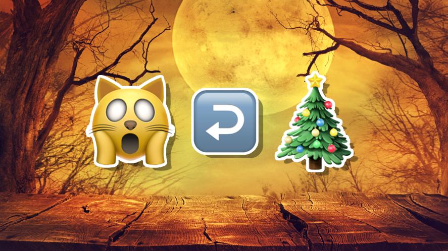 Halloween emojis including a cat, an arrow and a Christmas tree