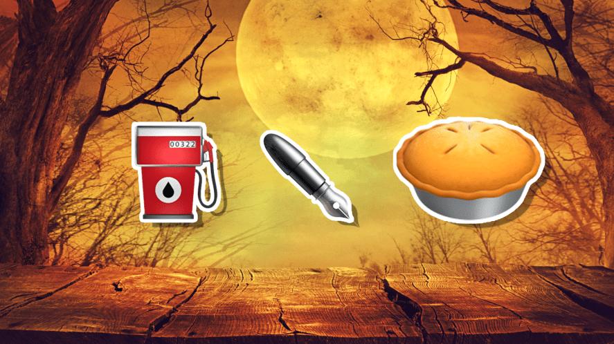 Halloween emojis with fuel nozzle, pen and pie