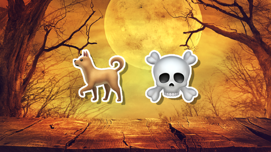 Halloween emojis with a dog and skull and crossbones