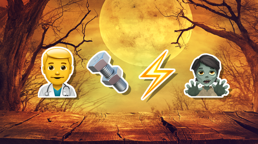 Halloween emoji with a doctor, a bolt, lightning and a zombie