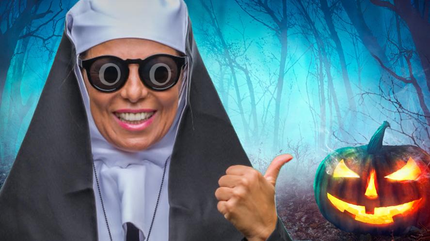 A nun at Halloween
