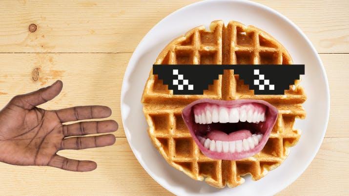 A sweet waffle wearing sunglasses