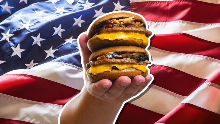 A quadruple cheeseburger