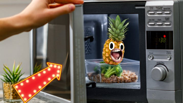 A pineapple in a microwave