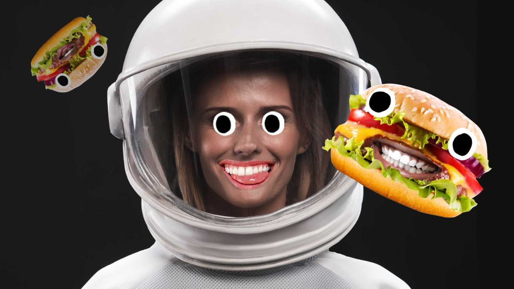 An astronaut surrounded by burgers