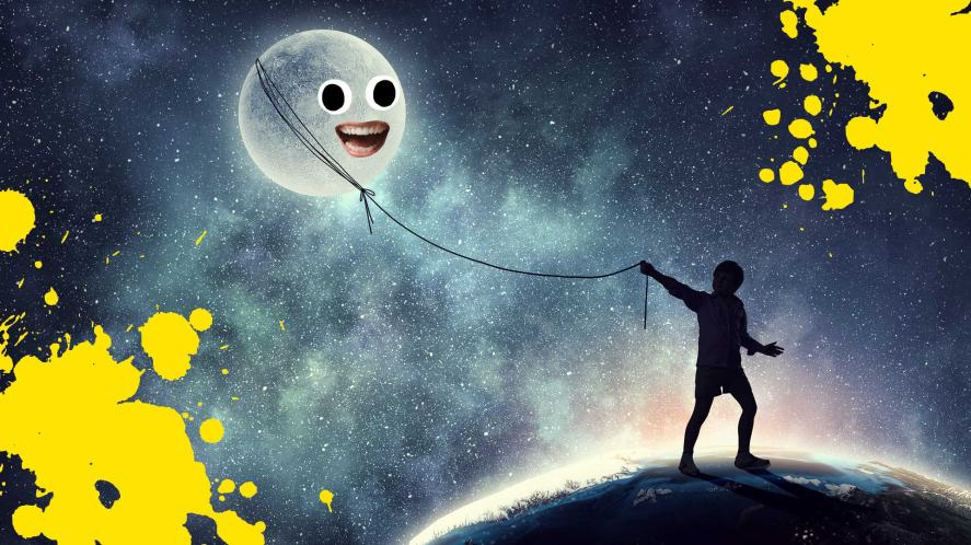 A dream involving the moon being walked like a pet dog