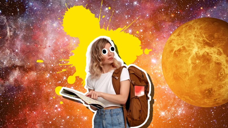 A backpacker seemingly lost in space