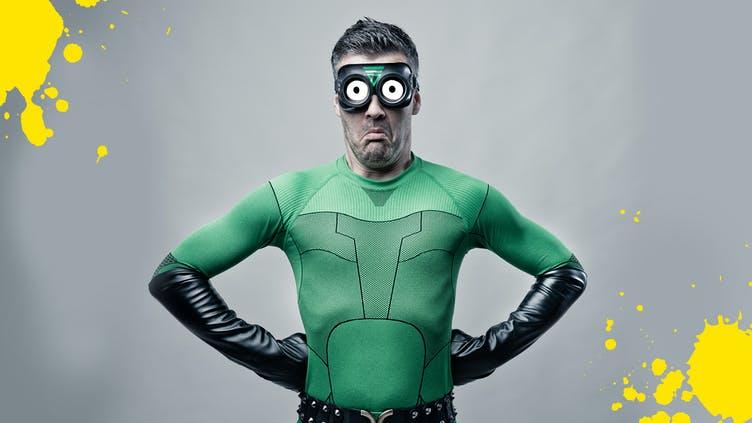 A superhero in a green costume