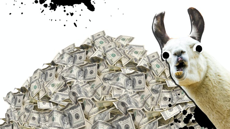 A llama and a pile of money