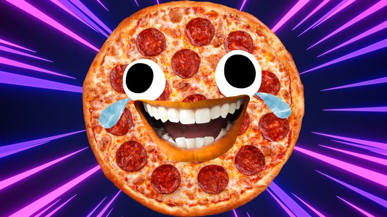 A laughing pepperoni pizza