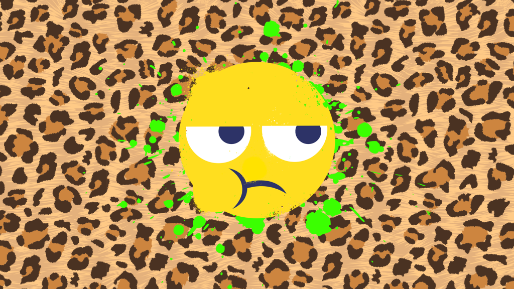 A grumpy looking emoji face