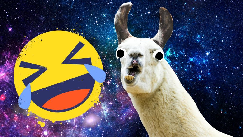A grinning goat and a cry laughing emoji