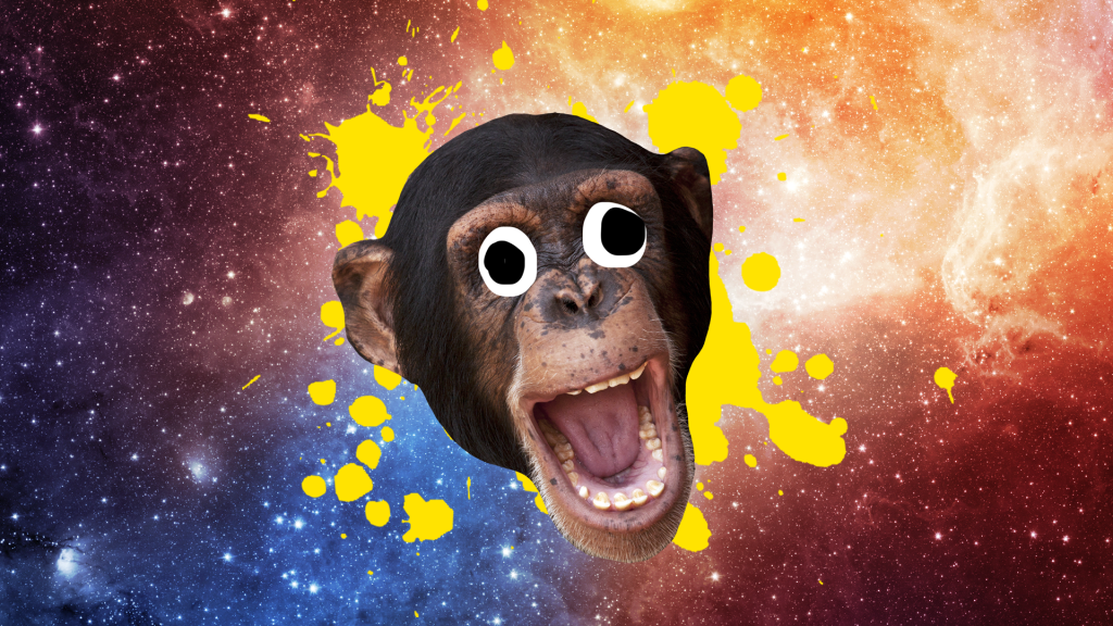 An open mouthed and laughing monkey