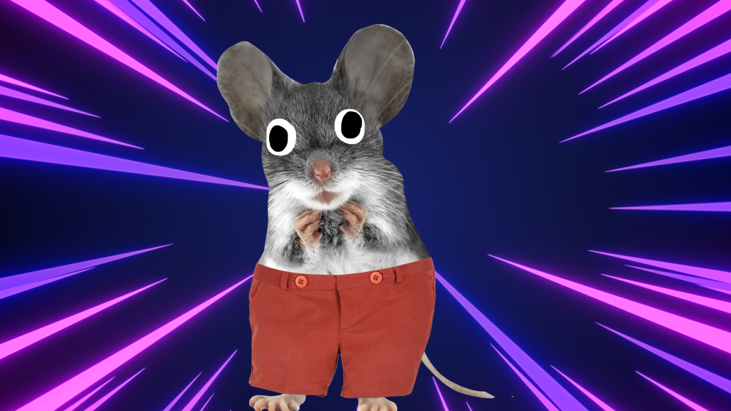 A mouse in red shorts