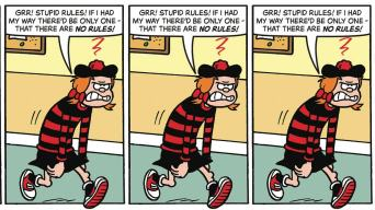 "Minnie the Minx comic strip - ""Grrr... stupid rules!"""