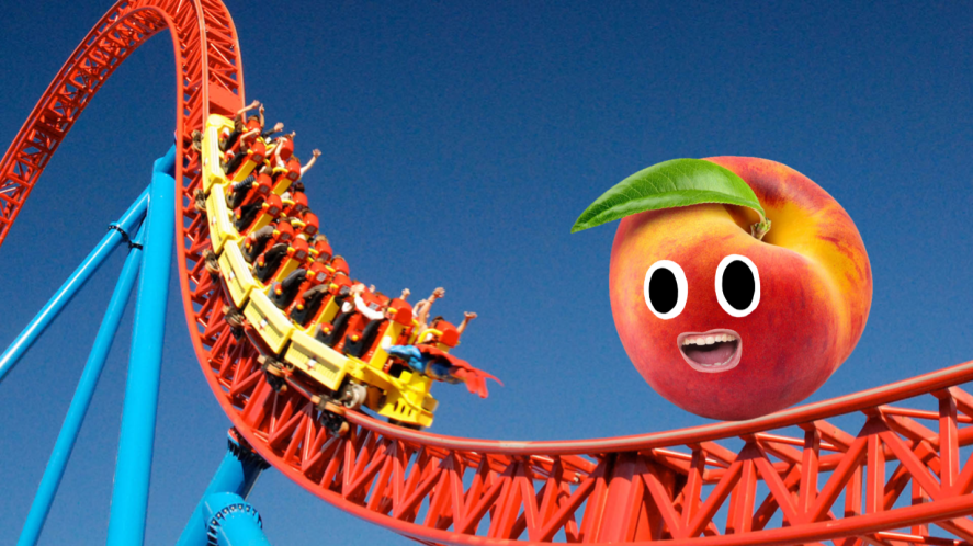A rollercoaster featuring a giant peach