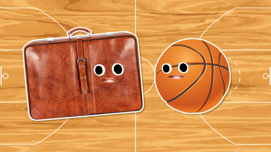 A basketball and an old suitcase