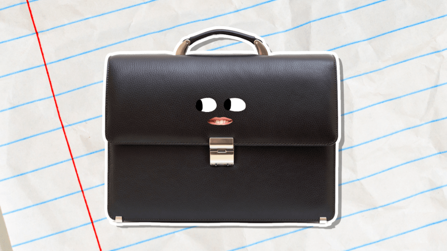 A leather briefcase