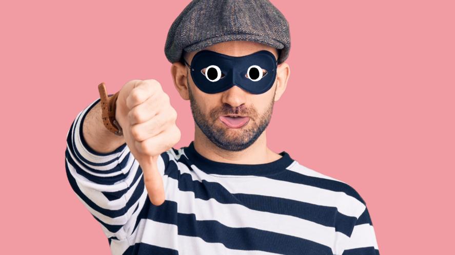 A burglar giving the thumbs down
