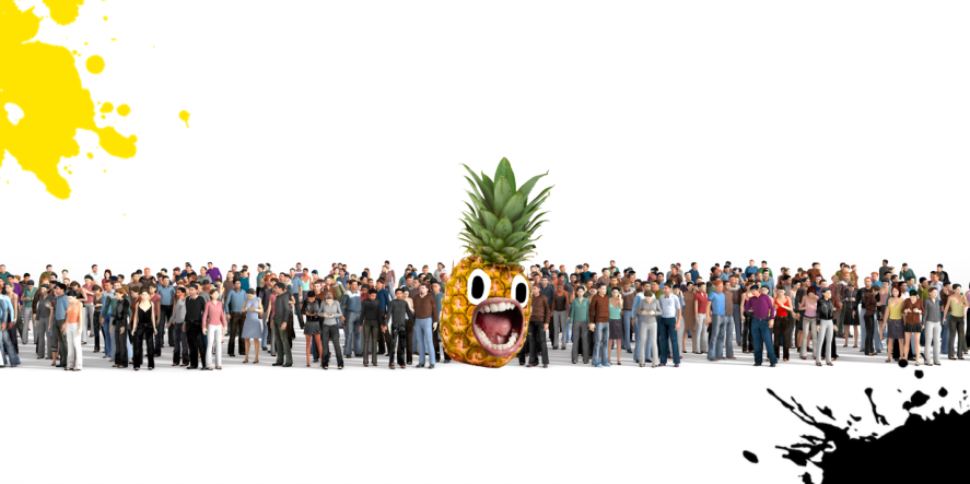 A crowd of people and a pineapple
