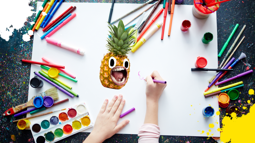 A person drawing a pineapple