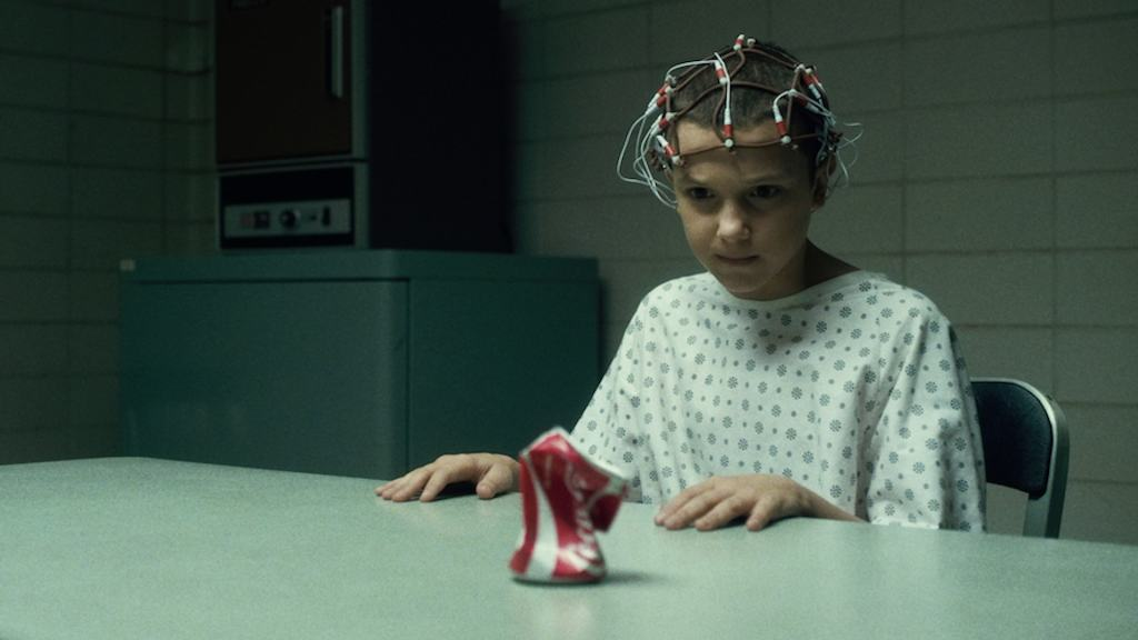A scene from Stranger Things, featuring Millie Bobby Brown