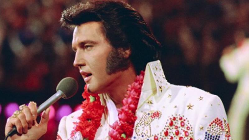 Elvis Presley singing a song