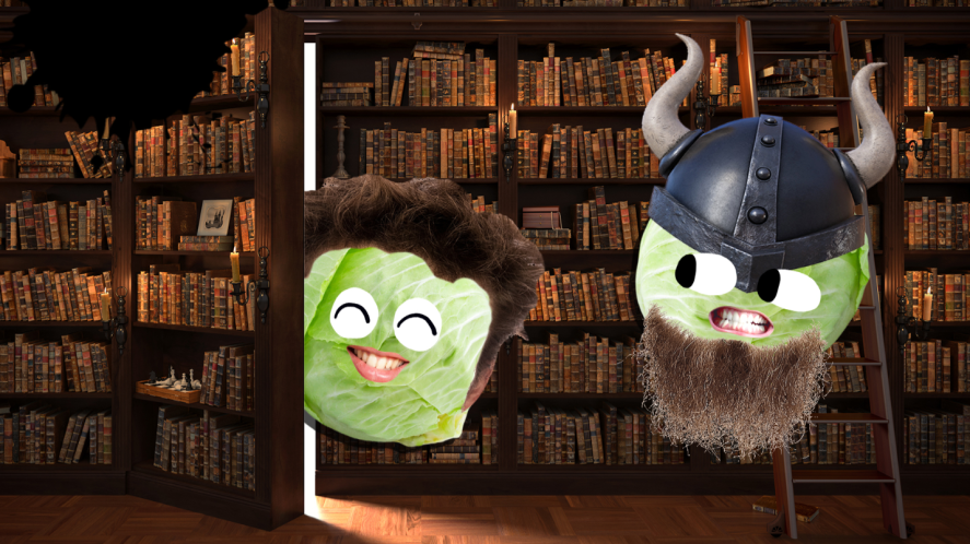 Two Hobbit characters in a library
