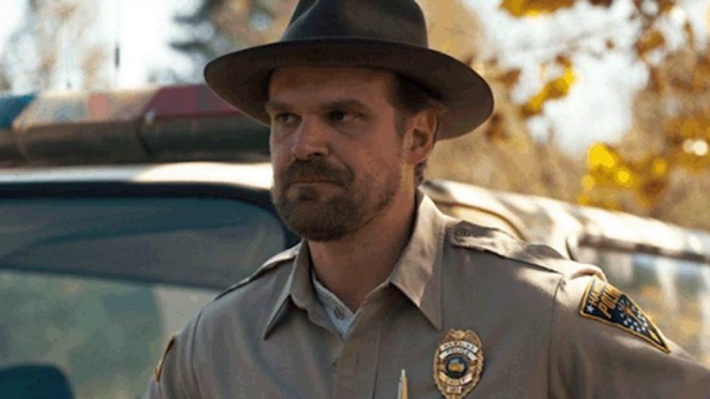 David Hopper wearing a hat in Stranger Things