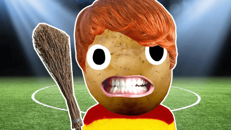 Ron Weasley on a Quidditch pitch