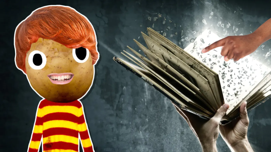 Ron and a magic spell book