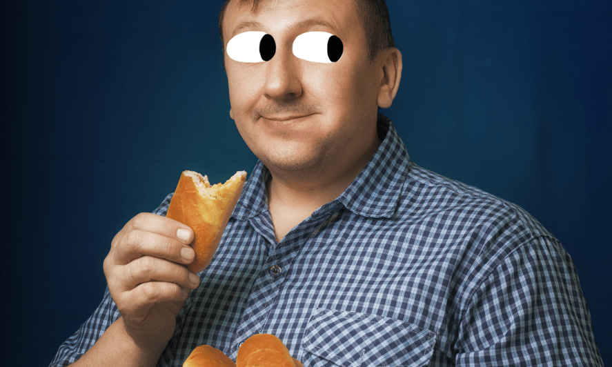 A man eating a snack